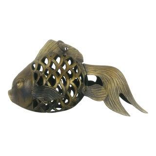 Vintage Goldtone Koi Fish Garden Lantern For Sale