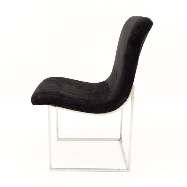 Black Milo Baughman for Directional Mid Century Black Velvet Chrome Base Lounge Chairs - a Pair For Sale - Image 8 of 11