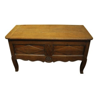 19th Century French Country Oak Lift Top Coffer For Sale