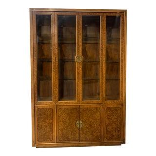 Vintage Burled Wood China Cabinet by Henredon For Sale