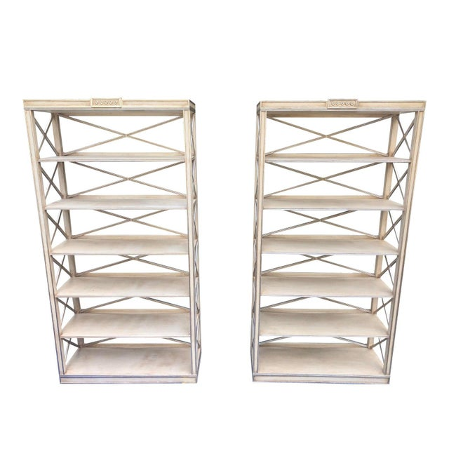 Metal Pair of Charles Pollock Chateau White & Silver Swedish Empire Etagere Shelving Units For Sale - Image 7 of 7
