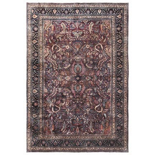 Room Size Antique Persian Khorassan Rug - 10′ × 14′8″ For Sale