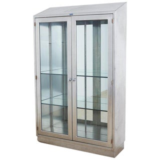 Industrial Steel Glass Door Apothecary Display Cabinet For Sale