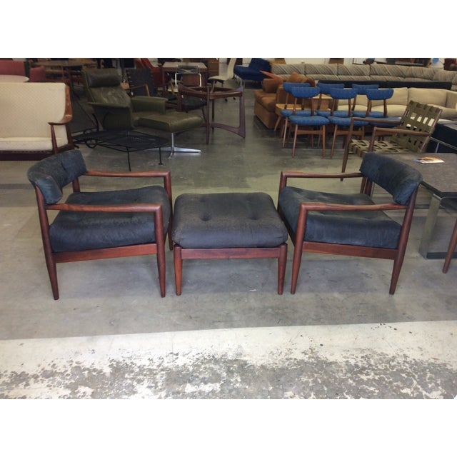 Adrian Pearsall Adrian Pearsall for Craft Lounge Chairs & Ottoman For Sale - Image 4 of 11