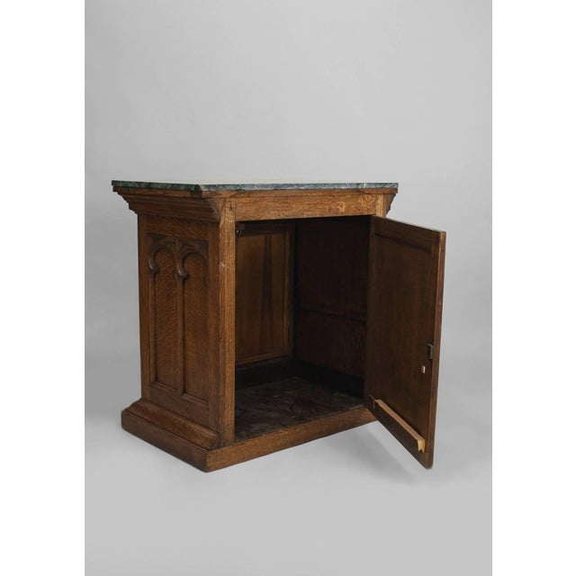 Turn of the Century English Gothic Revival Marble and Oak Commode For Sale - Image 4 of 5