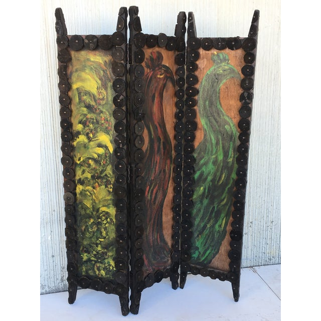 20th Century Arts & Crafts Folding Screen & Hand Painted Decoration Room Divider For Sale - Image 4 of 13