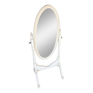 Ethan Allen White Oval Chavel Mirror For Sale
