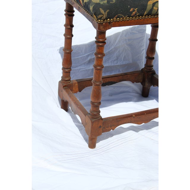 17th C. French Needlepoint Stool For Sale In San Diego - Image 6 of 8