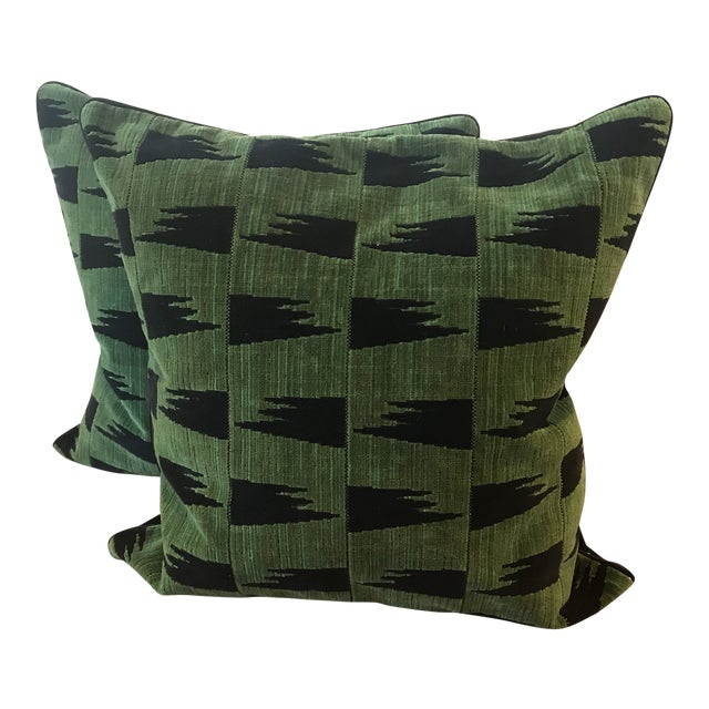 Schumacher Tutsi Green Pillows - A Pair For Sale