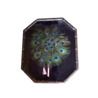 Vintage Art Deco Peacock Feather Framed Fan