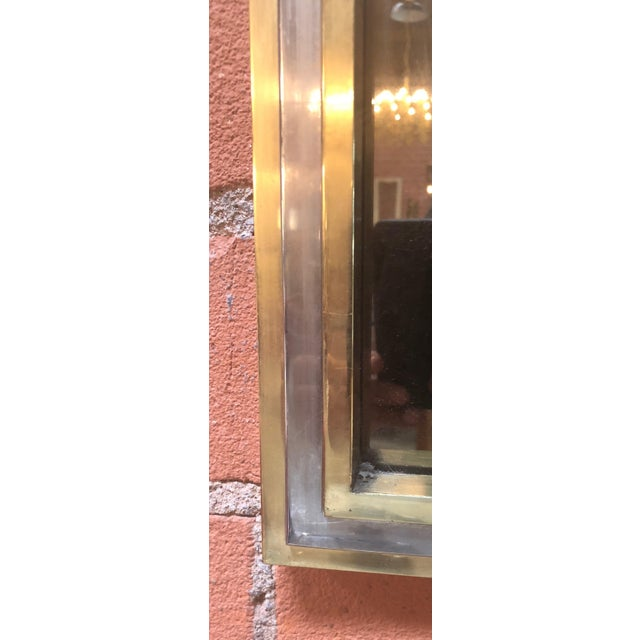 1970s Italian Brass and Chrome Wall Mirror Attributed to Willy Rizzo, 1970s For Sale - Image 5 of 8