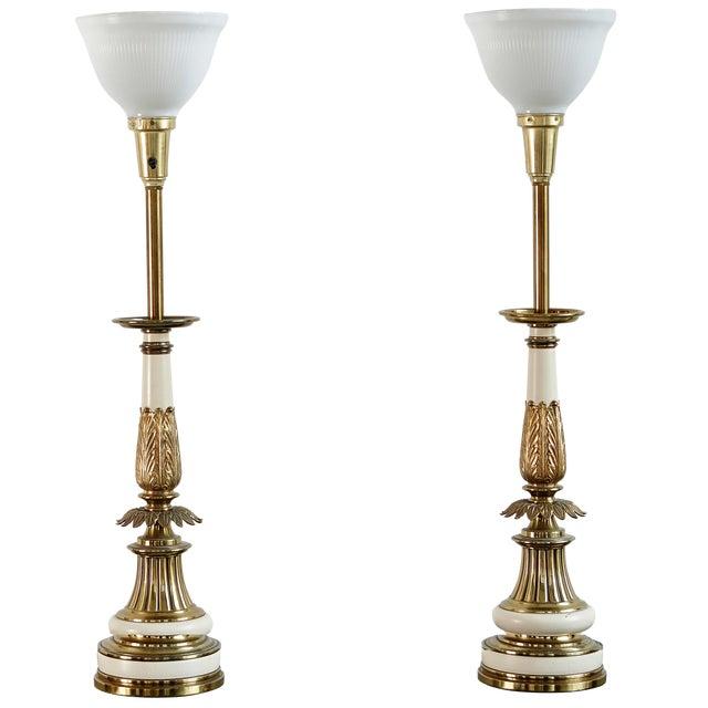 Hollywood Regency Brass Stiffel Lamps - Pair - Image 1 of 4