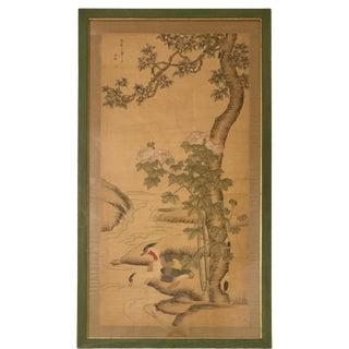 1950s Vintage Framed Hand-Painted Scenic Chinoiserie Mural Painting For Sale