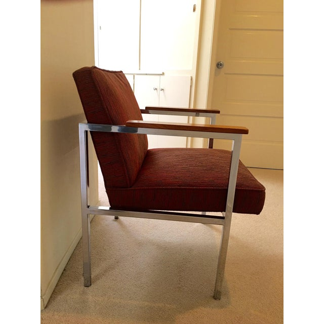 Contemporary 1960's Mid-Century Modern Chrome & Walnut Armchairs - Set of 6 For Sale - Image 3 of 9