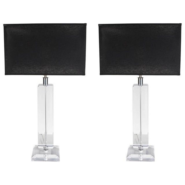 Silver Ultra-Chic Pair of Lucite and Chrome Lamps For Sale - Image 8 of 8