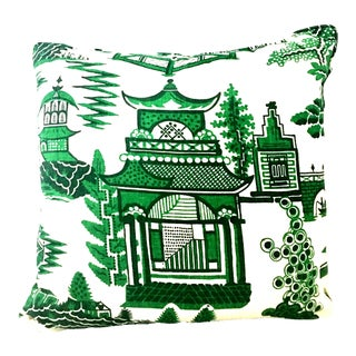Asian Modern Schumacher Linen and Down Chinoiserie Style Printed Pillow For Sale