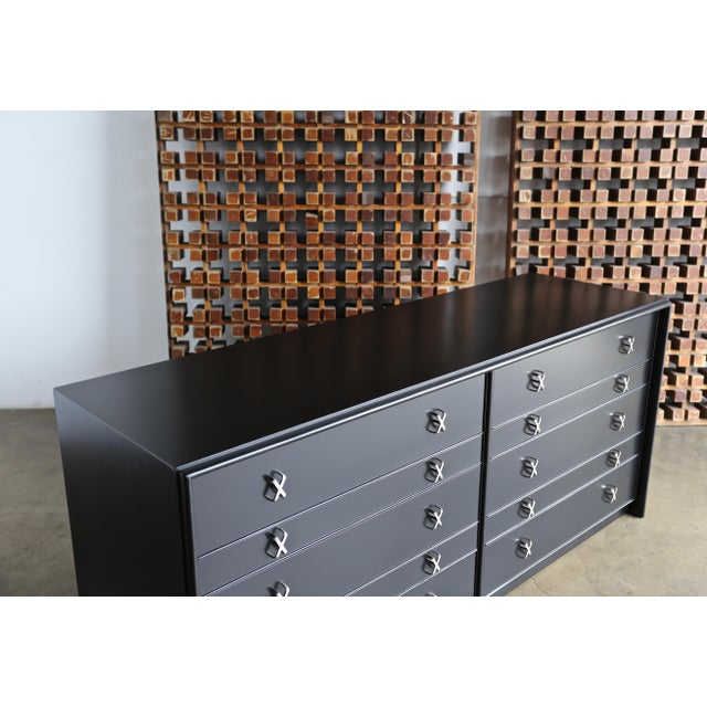 1950s Mid-Century Modern Paul Frankl for Johnson Furniture Company Ebonized Chest For Sale - Image 10 of 13
