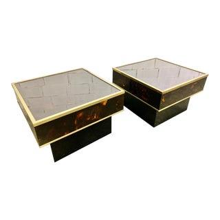Pair of Eric Maville Faux Tortoiseshell Designer Side Tables For Sale