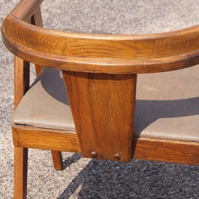 Mid Century Modern Oak Vanity and Chair - 2 Pieces For Sale - Image 10 of 11
