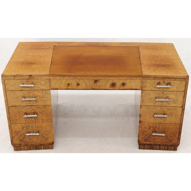 Brown Large Executive Art Deco Burl Wood Partners Desk For Sale - Image 8 of 12