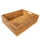 Image of Artifacts Rattan Rectangular Basket For Sale