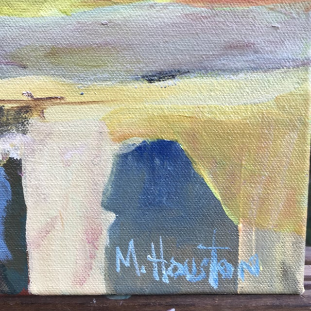 Colorful abstract mountain scene, acrylic on canvas, by Georgia artist Mary Houston. Painted around the edges and wired,...