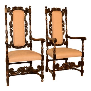 19th Century English Hall Chairs- A Pair For Sale