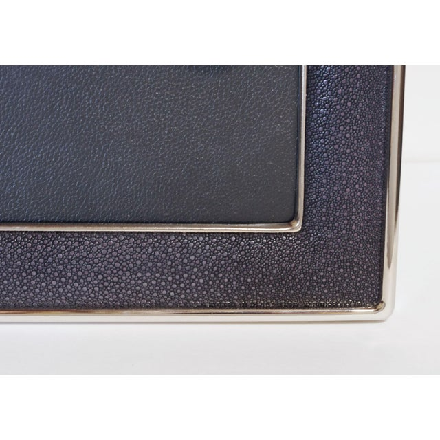 2010s Black Shagreen Nickel-Plated Photo Frame For Sale - Image 5 of 7