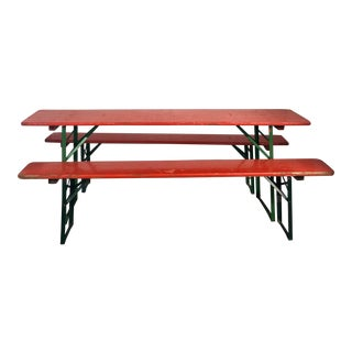 German Beer Garden Table Set with Two Benches For Sale