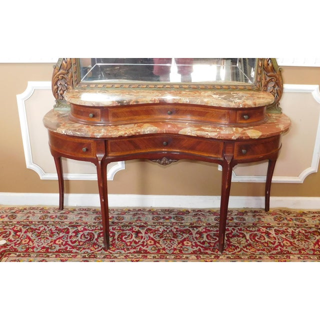 Fine 1920s French inlaid & Banded Mahogany Marble Top Bedroom Dressing Table Vanity w/ Mirror - Image 5 of 11