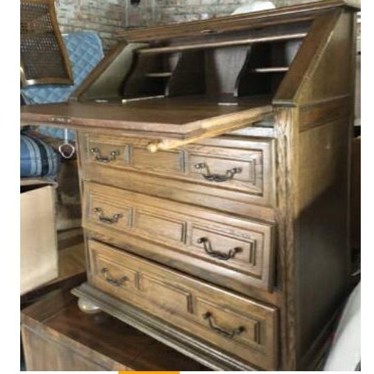 Vintage Roll Top Desk With Lock & Key - Image 4 of 7