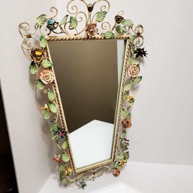 Vintage tole unique wall mirror hanging flowers toleware Italian shabby chic colorful metal art. In good condition with...