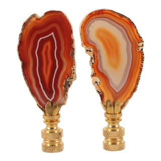 Amber Gold Plated Agate Slice Lamp Finials - a Pair For Sale