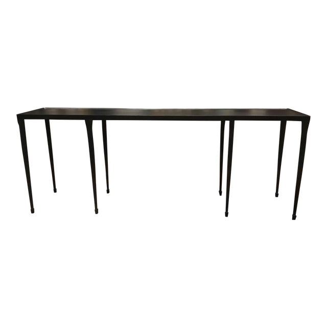 2010s Bernhardt Industrial Modern Black Iron Holden Console Table For Sale - Image 5 of 5