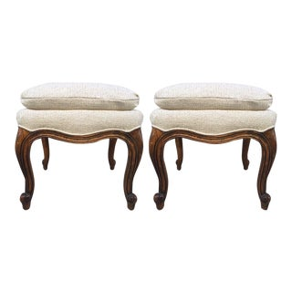 Pair of Walnut French Napoleon III Style Stools For Sale