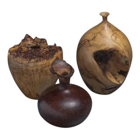 Set of Three Turned Burl Wood Vases, Hap Sakwa, Ron Pisani, USA, 1980s For Sale