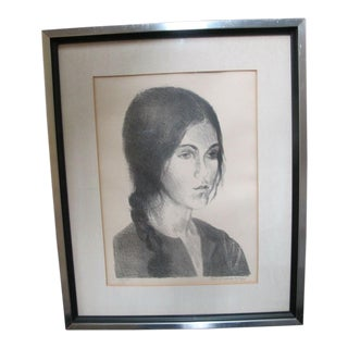 Raphael Soyer Signed Limited Edition Lithograph of Young Girl With Braid For Sale