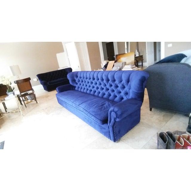 Restoration Hardware Churchill Blue Velvet Sofa - Image 3 of 7