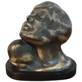 Art Deco Zinc Flapper Portrait Bust For Sale