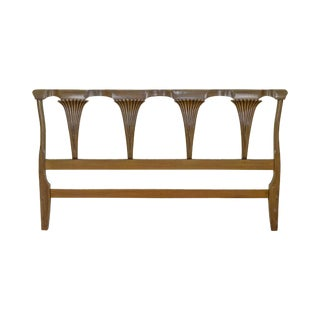 Hollywood Regency Mid Century Custom King Size Fruitwood Headboard For Sale