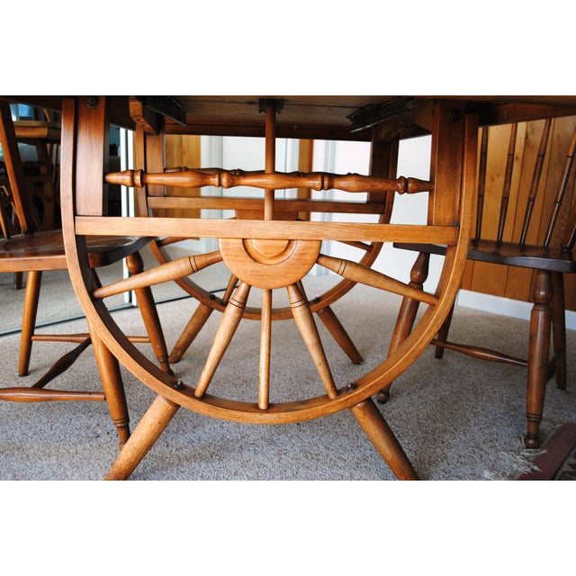 Brown 1950's Southwestern Baumritter Ethan Allan Wagon Wheel Dining Set - 5 Pieces For Sale - Image 8 of 13