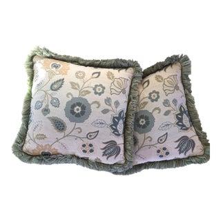 Custom Kravet Fabric & Fringe Pillows - A Pair
