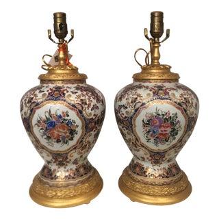 Continental Porcelain Designer Table Lamps - a Pair