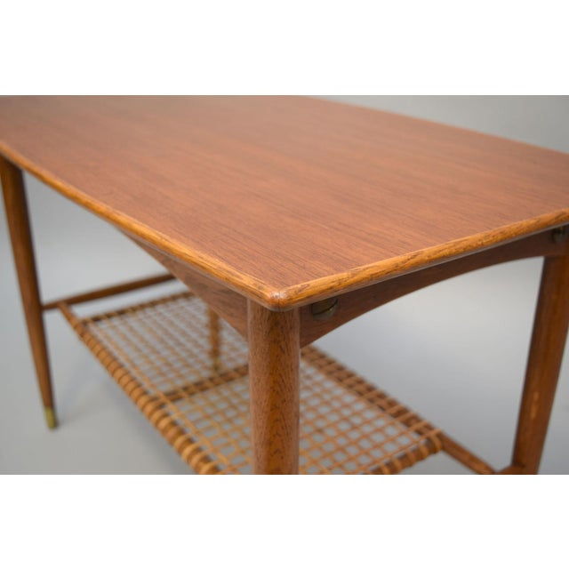 Folke Ohlsson Teak, Oak & Cane Side Table For Sale - Image 5 of 8