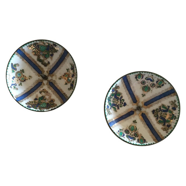 1960's Enamel Taper Candle Holders - A Pair - Image 1 of 4