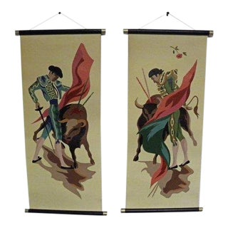 Vintage Mid Century Bull Fighter Wall Art Decor Hangings - a Pair For Sale
