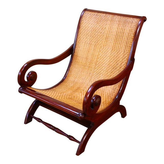 Antique Mahogany & Cane Plantation Chair - Antique Mahogany & Cane Plantation Chair Chairish