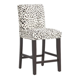 Counter Stool in Washed Cheetah Cream Gray For Sale