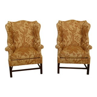 Chippendale Mahogany Wingback Easy Chairs With Down Seats - a Pair For Sale