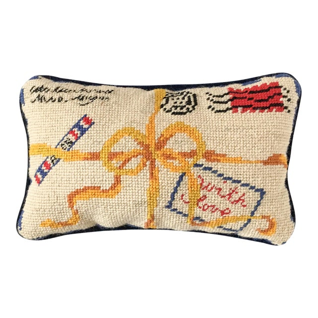 """French Style """"With Love"""" Par Avion Letter Needlepoint Pillow - Image 1 of 5"""